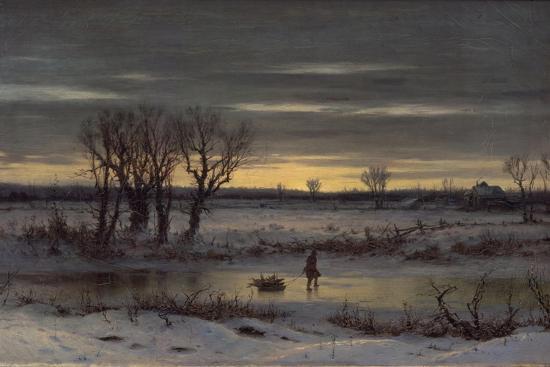 Winter Twilight Near Albany, 1858-George Henry Boughton-Giclee Print