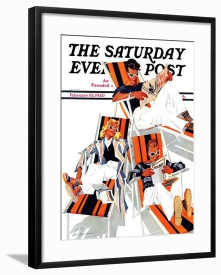 """""""Winter Vacation,"""" Saturday Evening Post Cover, February 10, 1940-Ski Weld-Framed Giclee Print"""