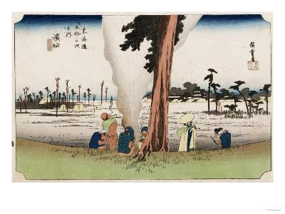Winter View, Hamamatsu, from the Series 'The Fifty-Three Stations of the Tokaido', Circa 1834-Ando Hiroshige-Giclee Print