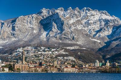 Winter View of City of Lecco with Mount Resegone in the Background, Lake Como, Lombardy, Italy-Stefano Politi Markovina-Photographic Print