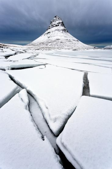 Winter View over Slabs of Broken Lake Ice Covered in Snow Towards Kirkjufell (Church Mountain)-Lee Frost-Photographic Print