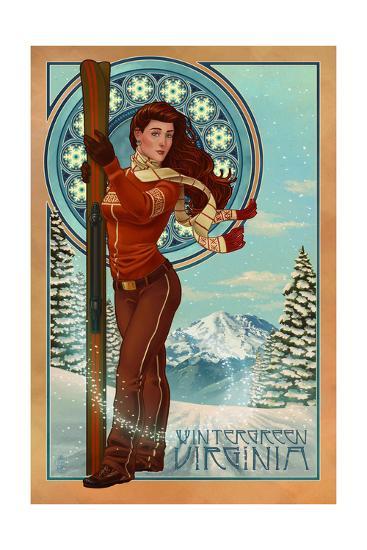 Wintergreen, Virginia - Art Nouveau Skier-Lantern Press-Art Print