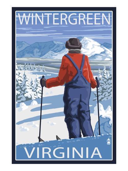 Wintergreen, Virginia - Skier Admiring View-Lantern Press-Art Print