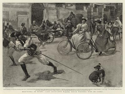 Wintering in Egypt, Lady Bicyclists Taking their Morning Ride in Cairo--Giclee Print
