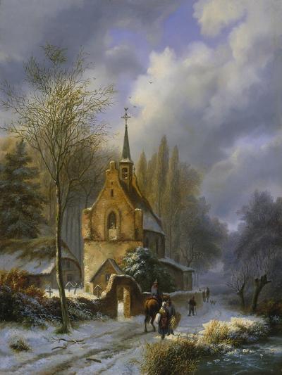 Winterlandschaft an Einer Kirche-Barend Cornelis Koekkoek-Giclee Print