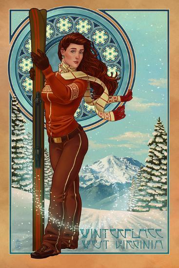 Winterplace, West Virginia - Art Nouveau Skier-Lantern Press-Wall Mural