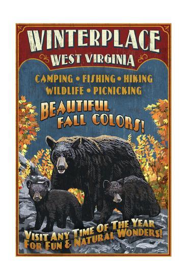 Winterplace, West Virginia - Black Bear Vintage Sign-Lantern Press-Art Print