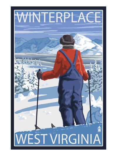 Winterplace, West Virginia - Skier Admiring View-Lantern Press-Art Print