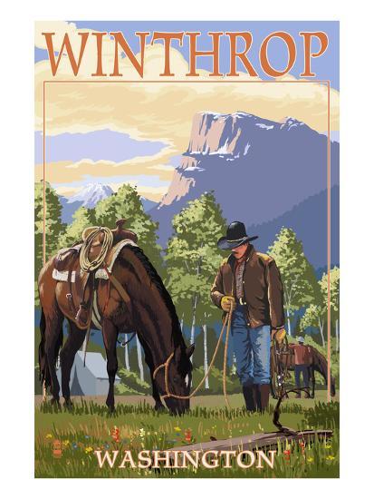 Winthrop, Washington - Cowboy and Horse in Spring-Lantern Press-Art Print