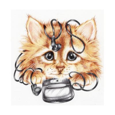 Wired Kitten-Karen Middleton-Giclee Print