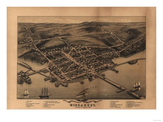 Wiscasset, Maine - Panoramic Map-Lantern Press-Art Print
