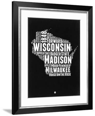 Wisconsin Black and White Map-NaxArt-Framed Art Print