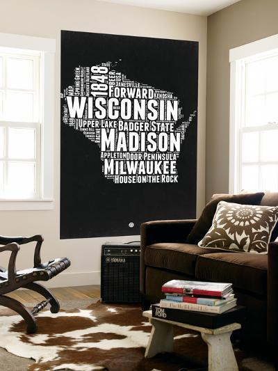 Wisconsin Black and White Map-NaxArt-Wall Mural