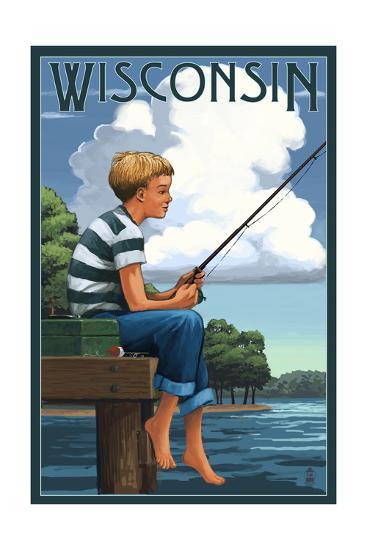 Wisconsin - Boy Fishing-Lantern Press-Art Print