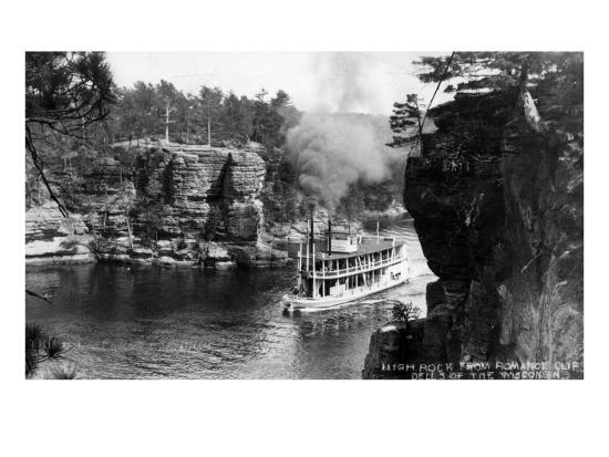 Wisconsin Dells, Wisconsin - High Rock from Romance Cliff, Steamer-Lantern Press-Art Print