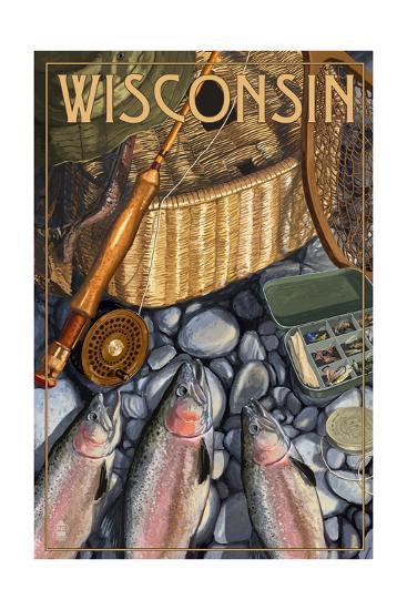 Wisconsin - Fishing Still Life-Lantern Press-Art Print