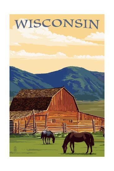 Wisconsin - Red Barn and Horses-Lantern Press-Art Print