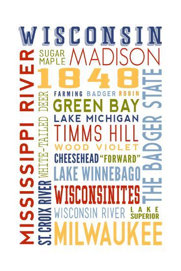 Wisconsin - Typography-Lantern Press-Art Print