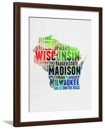 Wisconsin Watercolor Word Cloud-NaxArt-Framed Art Print