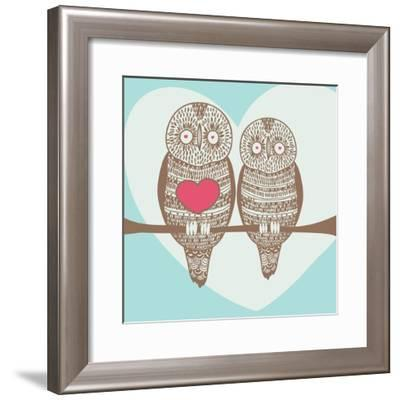 Wise Owl Couple on Tree Branch under Heart Shaped Moon- stopitnow-Framed Premium Giclee Print