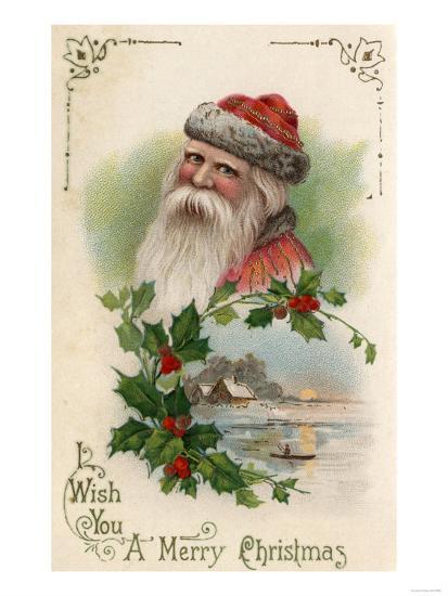 Wish You a Merry Christmas - Santa with a Lake Scene-Lantern Press-Art Print