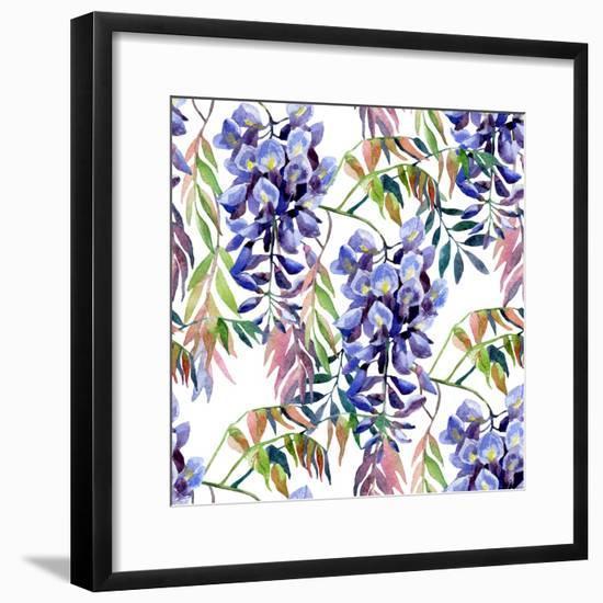 Wisteria Flower Watercolor-tanycya-Framed Premium Giclee Print