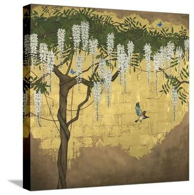 Wisteria with House Finch-Joanna Charlotte-Stretched Canvas Print