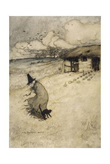 Witch and Cat-Arthur Rackham-Giclee Print