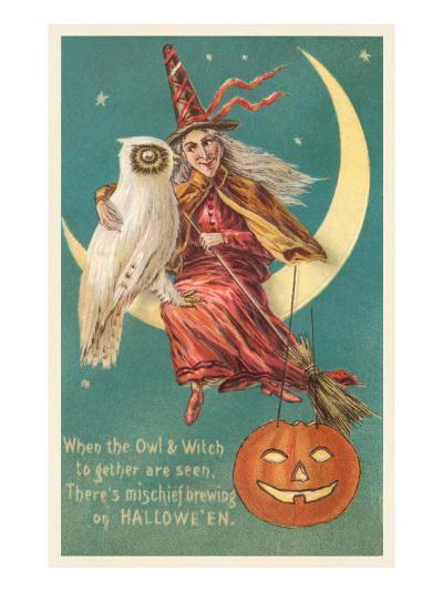 Witch and White Owl--Art Print