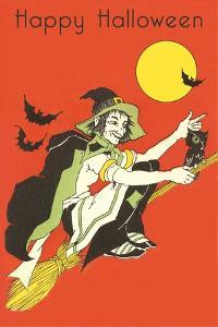 Witch on Broom with Bats