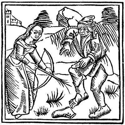 Witch Shooting a Man in the Foot with an Enchanted Arrow Made from a Hazel Wand, 1489--Giclee Print