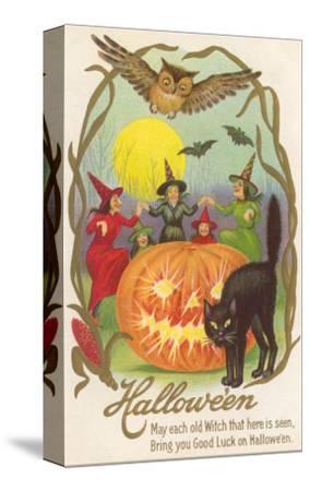 Witches, Bats Owl, Cat, Jack O'Lantern
