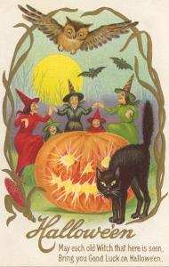 Witches, Bats Owl, Cat, Jack O'Lantern