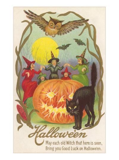 Witches, Bats Owl, Cat, Jack O'Lantern--Art Print