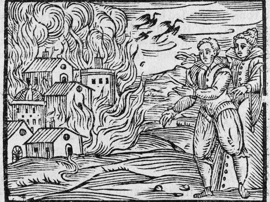 Witches Burning a Town, 17h Century-Middle Temple Library-Photographic Print