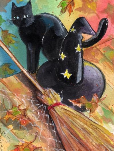 Witches Hat and Black Cat Halloween-sylvia pimental-Art Print