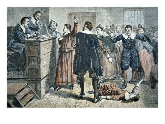 Witches of Salem - a Girl Bewitched at a Trial in 1692 (Colour Litho)-American-Giclee Print