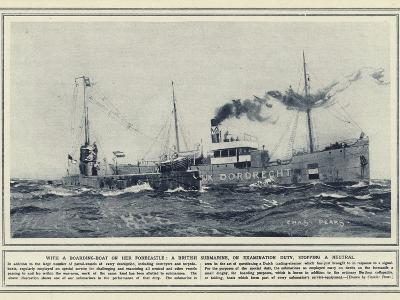 With a Boarding-Boat on Her Forecastle, a British Submarine, on Exmination Duty, Stopping a Neutral--Photographic Print