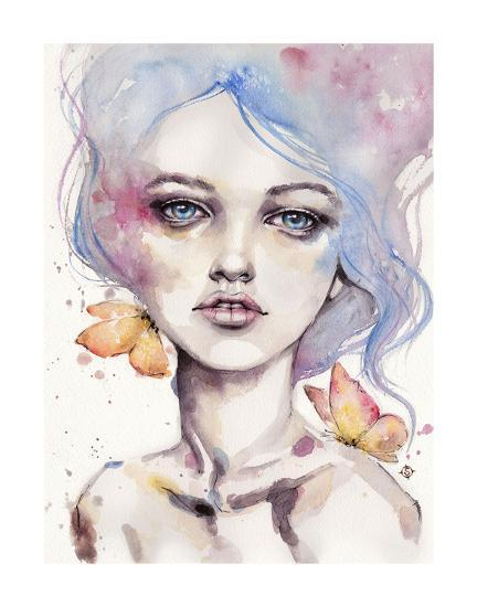 With Elegance (female portrait)-Sillier than Sally-Art Print