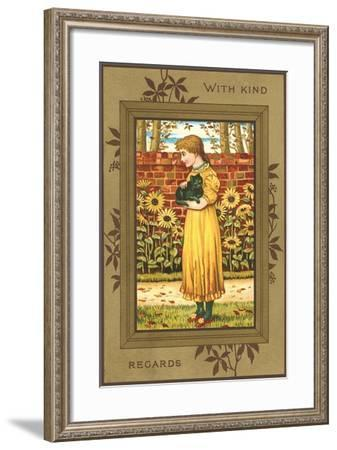 With Kind Regards, Girl with Black Cat--Framed Art Print