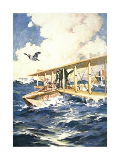 """""""With Our Seaplane in the North Sea, a Carrier to the Rescue"""", from 'The Sphere', 1918-William Edward Wigfull-Giclee Print"""