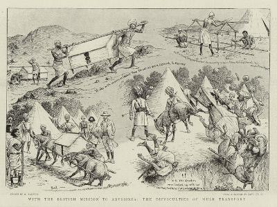 With the British Mission to Abyssinia, the Difficulties of Mule Transport-William Ralston-Giclee Print