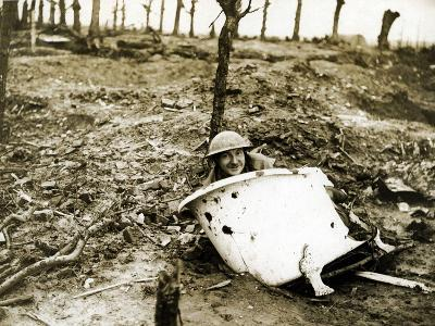 With the British on the Western Front: a German Bath in a Sea of Desolation, 1914-18--Photographic Print