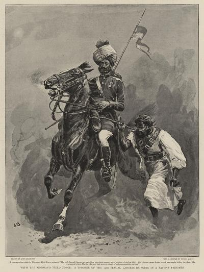 With the Mohmand Field Force, a Trooper of the 13th Bengal Lancers Bringing in a Pathan Prisoner-John Charlton-Giclee Print