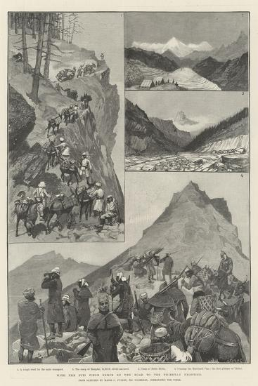 With the Niti Field Force on the Road to the Thibetan Frontier-Amedee Forestier-Giclee Print
