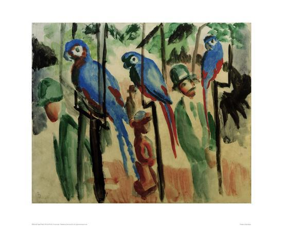With the parrots-Auguste Macke-Giclee Print