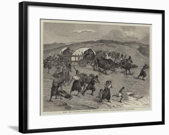 With the Russians, Bulgarian Peasantry Fleeing from Circassian Irregulars-Samuel Edmund Waller-Framed Giclee Print