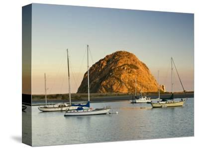 Boats Anchored Near Morro Rock at Sunrise, Seen from Embarcadero Waterfront Boulevard