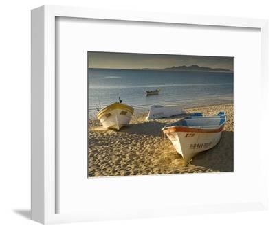 Panga Boats on Beach Along Bahia De San Felipe at Sunrise