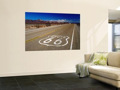 Route 66 Sign on Highway Near Amboy, Mojave Desert, California